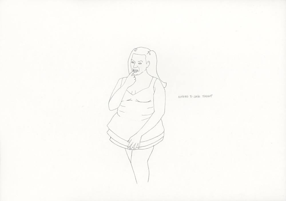 Kora Junger – »World's Saddest Songs« #003_01_06_833, 21 x 29,7 cm, pencil on paper, 2006