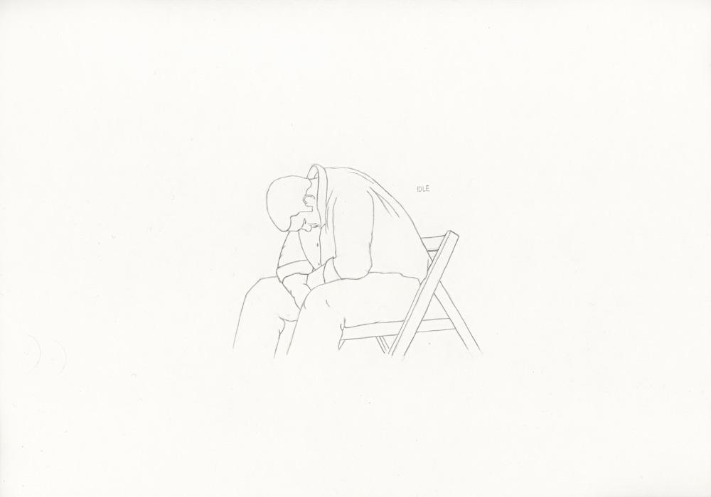 Kora Junger – »World's Saddest Songs« #017_02_05_810, 21 x 29,7 cm, pencil on paper, 2005
