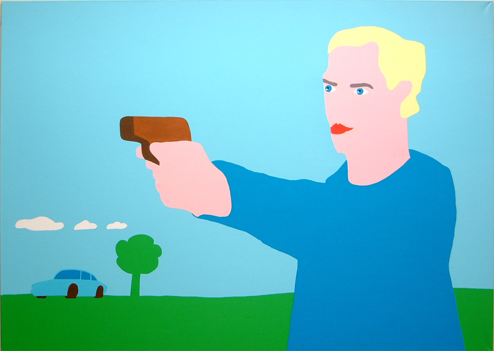 Kora Junger – gun head, 200 x 280 cm, acryl on canvas, 2002