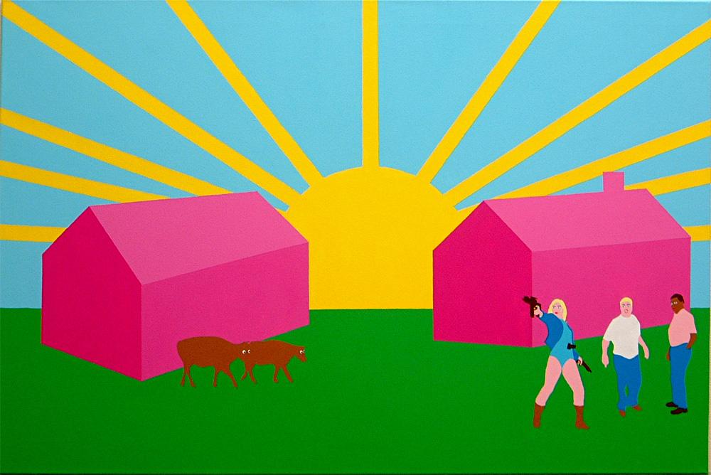 Kora Junger – Kleingruppe, 80 x 120 cm, acryl on canvas, 2002