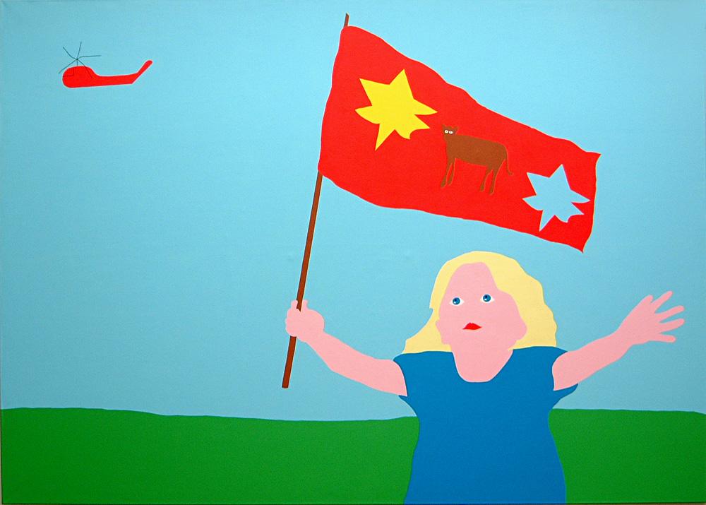 Kora Junger – kind mit flagge, 200 x 280 cm, acryl on canvas, 2002