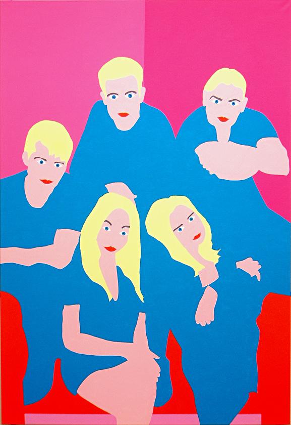 Kora Junger – popgruppe, 190 x 130 cm, acryl on canvas, 2002