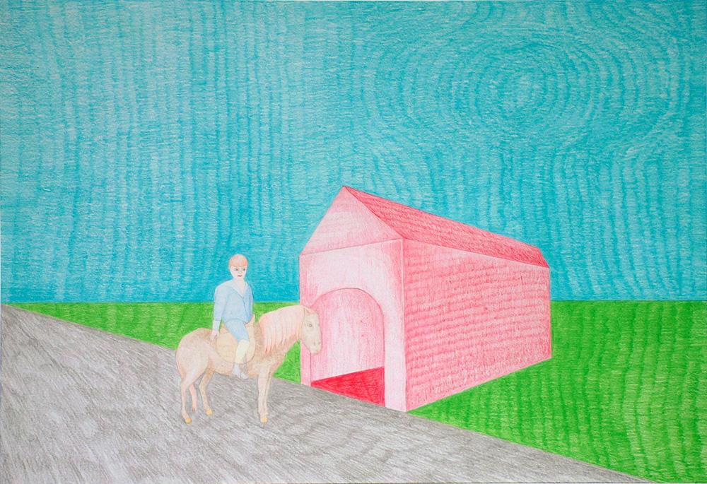 "Kora Junger – Washington DC #02, 44 x 64 cm, color pencil on paper, 2003"""