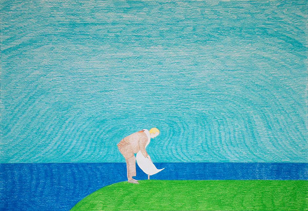 "Kora Junger – Washington DC #01, 44 x 64 cm, color pencil on paper, 2003"""
