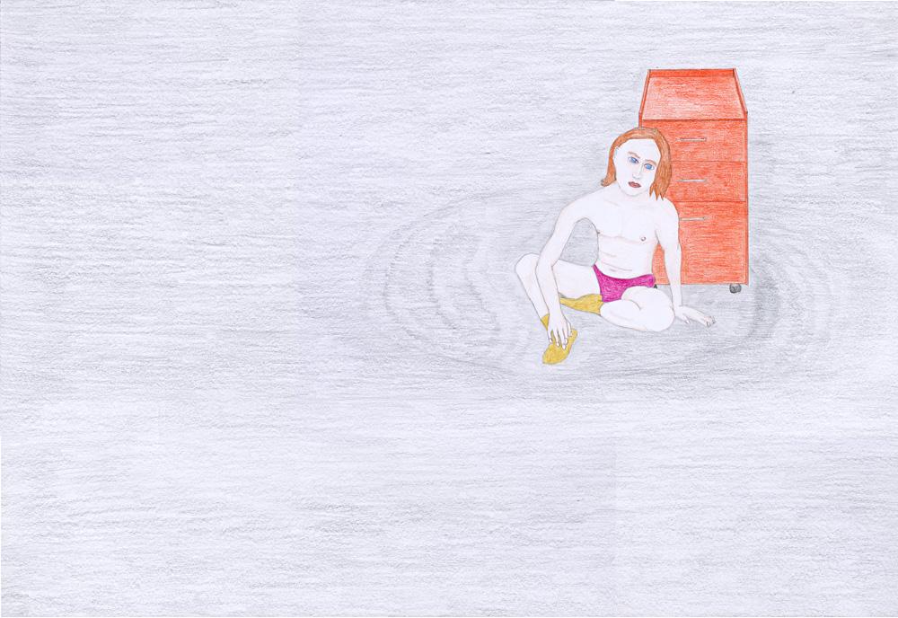 Hostage Crisis #01, color pencil on paper, 44 x 64 cm, 2003