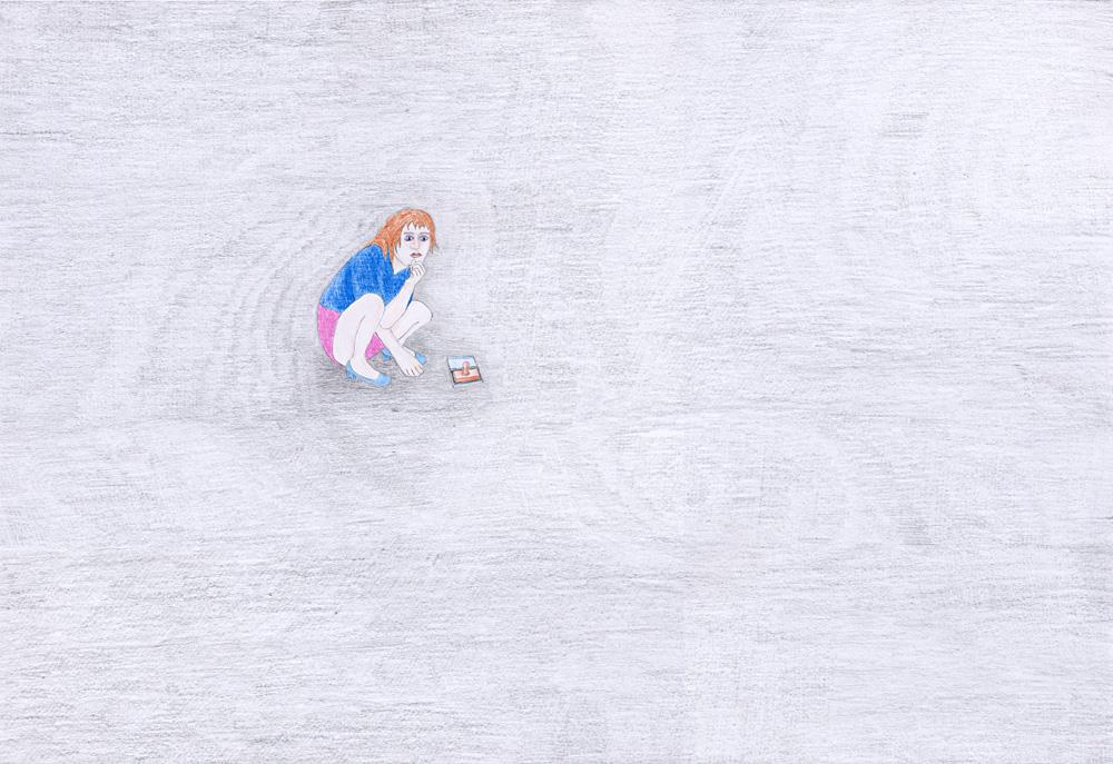 Hostage Crisis #02, color pencil on paper, 44 x 64 cm, 2003