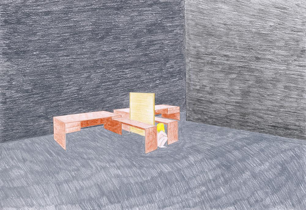 Hostage Crisis #04, color pencil on paper, 44 x 64 cm, 2003