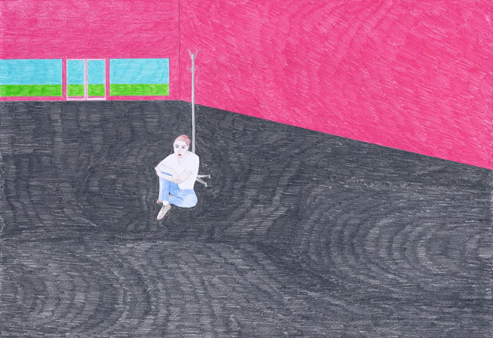 Hostage Crisis #05, color pencil on paper, 44 x 64 cm, 2003