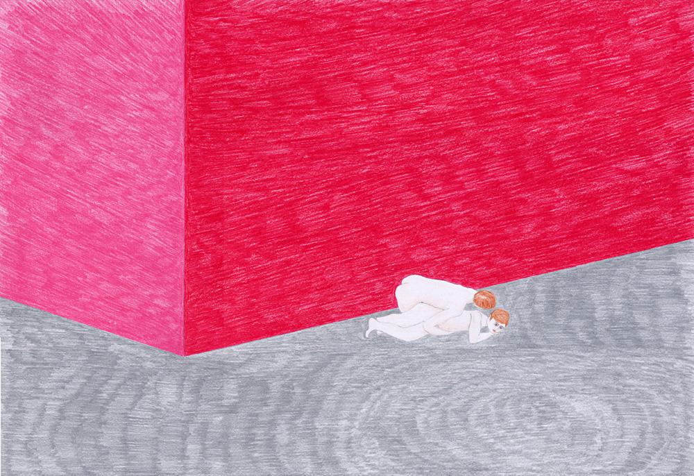 Hostage Crisis #06, color pencil on paper, 44 x 64 cm, 2003
