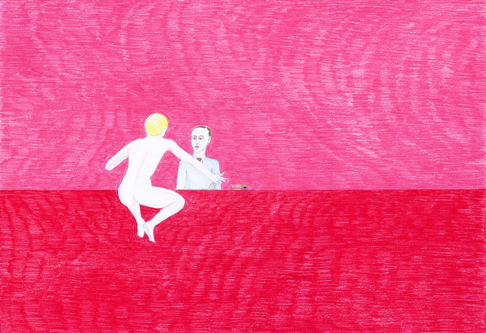 Hostage Crisis #07, color pencil on paper, 44 x 64 cm, 2003