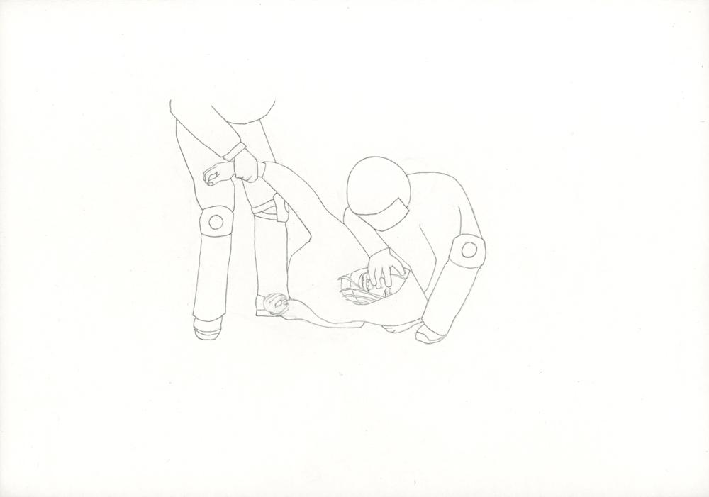 Kora Junger – Bullen #01, 21 x 29,7 cm, pencil on paper, 2005