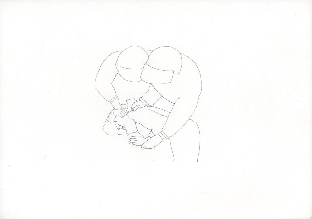 Kora Junger – Bullen #06, 21 x 29,7 cm, pencil on paper, 2005