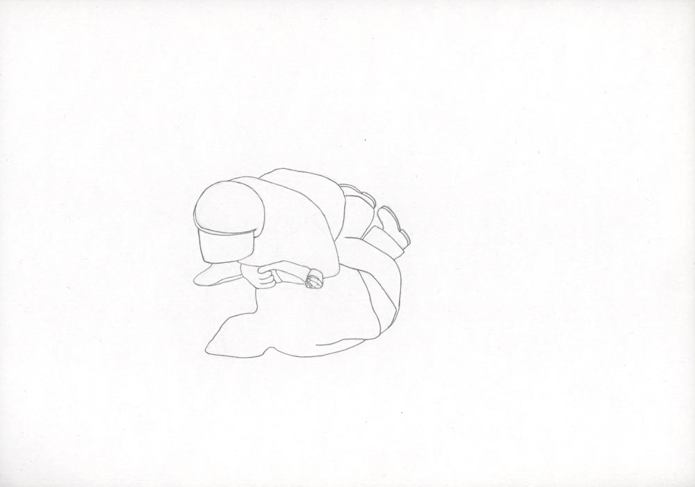 Kora Junger – Bullen #12, 21 x 29,7 cm, pencil on paper, 2005