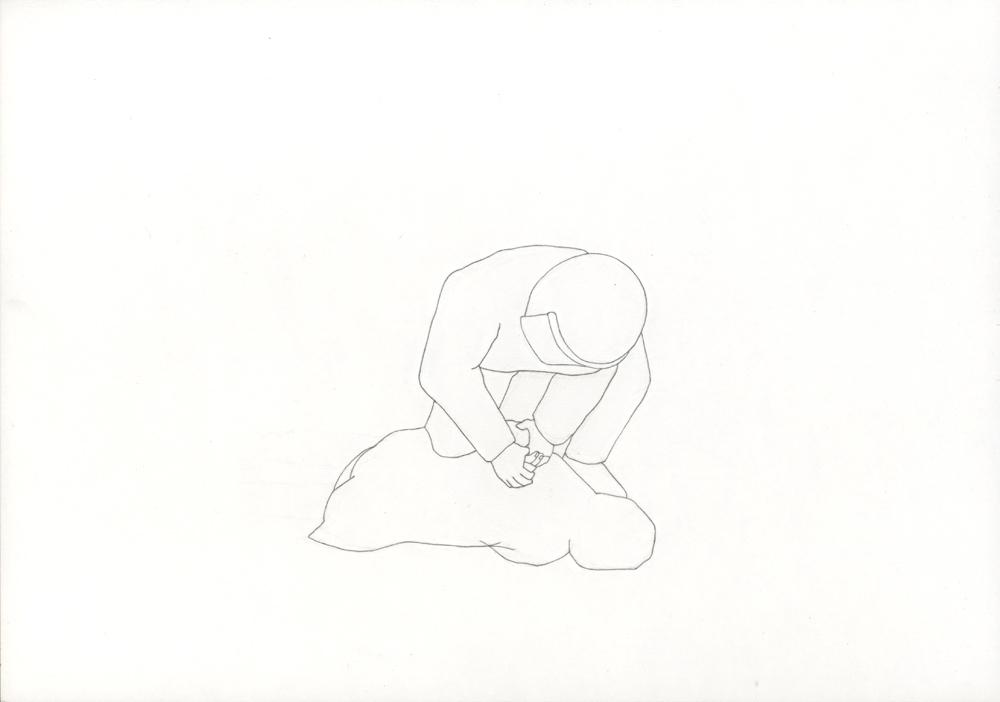 Kora Junger – Bullen #13, 21 x 29,7 cm, pencil on paper, 2005
