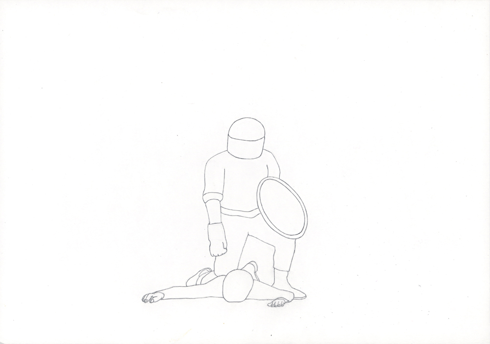 Kora Junger – Bullen #16, 21 x 29,7 cm, pencil on paper, 2005