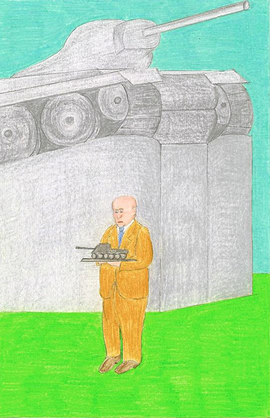 Kora Junger – Panzer, color pencil on paper, 29,7 x 21 cm, 2002