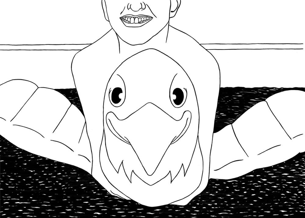 Kora Junger – o. T. (swan), 42 x 59,4 cm, ink on paper, 2007