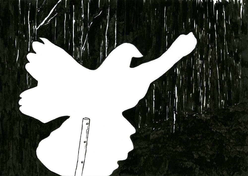 Kora Junger – o. T. (Taube), 29,7 x 42 cm, ink on paper, 2006