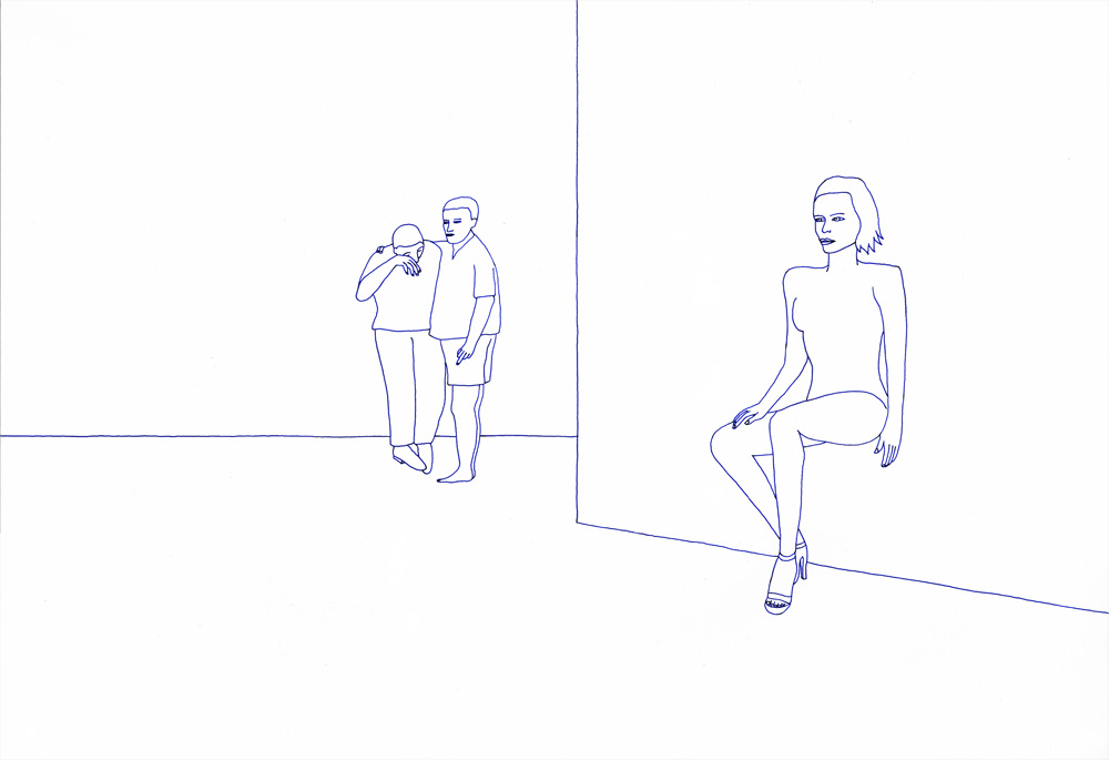 Kora Junger – revisited expressions #10, 50 x 70 cm, ink on paper, 2004