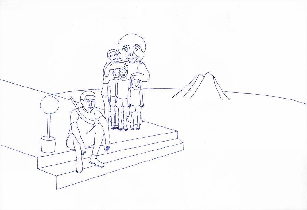 Kora Junger – revisited expressions #13, 50 x 70 cm, ink on paper, 2004