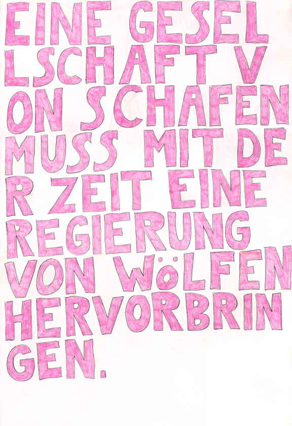Kora Junger – words to remember #01, 64 x 44 cm, color pencil on paper, 2003