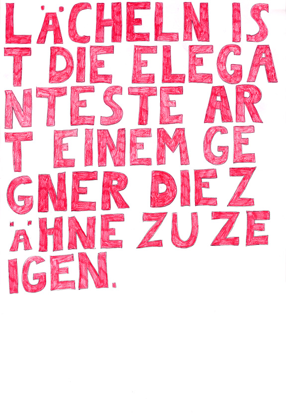 Kora Junger – words to remember #04, 64 x 44 cm, color pencil on paper, 2003