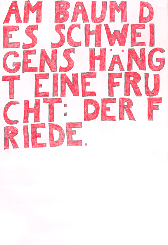 Kora Junger – words to remember #06, 64 x 44 cm, color pencil on paper, 2003