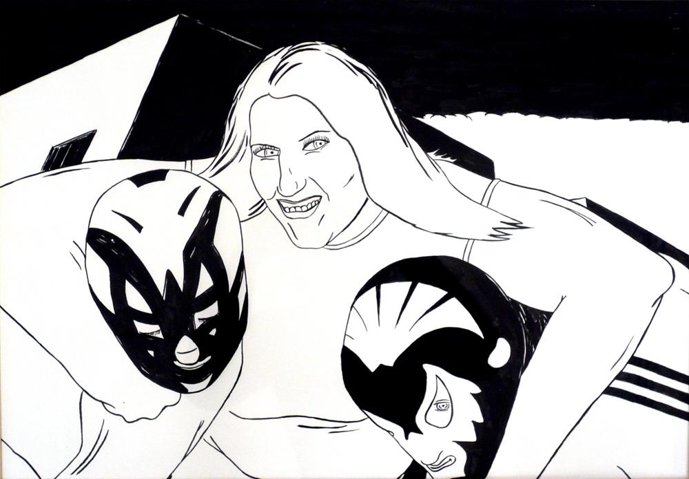 Kora Junger – o. T. (wrestling), 42 x 59,4 cm, ink on paper, 2007